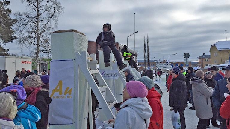 Isstolparna vid Wilhelmina winter weekend 2016. Foto: Örjan Holmberg/Sveriges Radio Västerbotten.