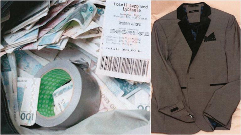 Bild på rånbyte samt en av kostymerna som rånarna använde.