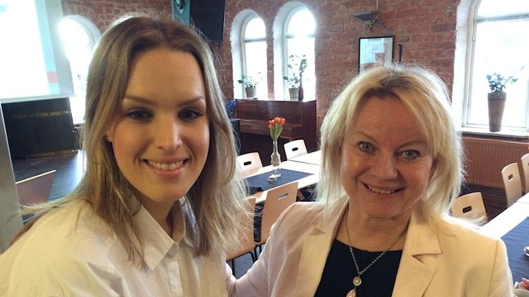 Elin Wernquist Barnrättsbyrån i Stockholm och  Caroline Nyström, projektledare  för Socialt företagande i Umeå och Vännäs. Filippa Armstrong/SR