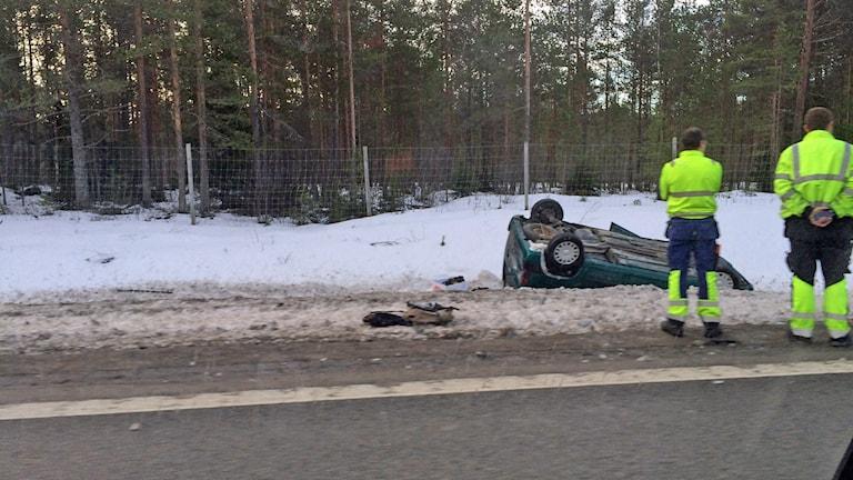 Bilolycka på E4 vid Ansmark.