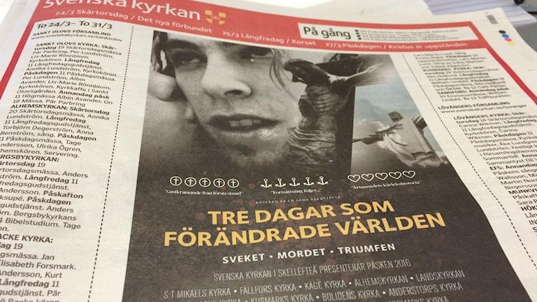 Annons från Svenska kyrkan. Foto SR.