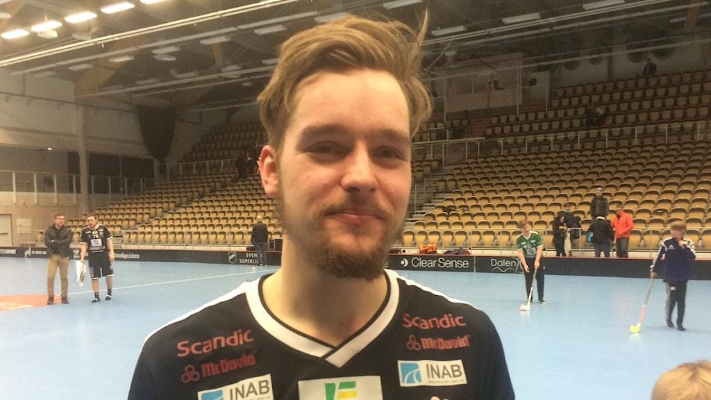 Jonas Svahn tvåmålsskytt för IBK Dalen. Foto: Helena Forsgren, SR Västerbotten