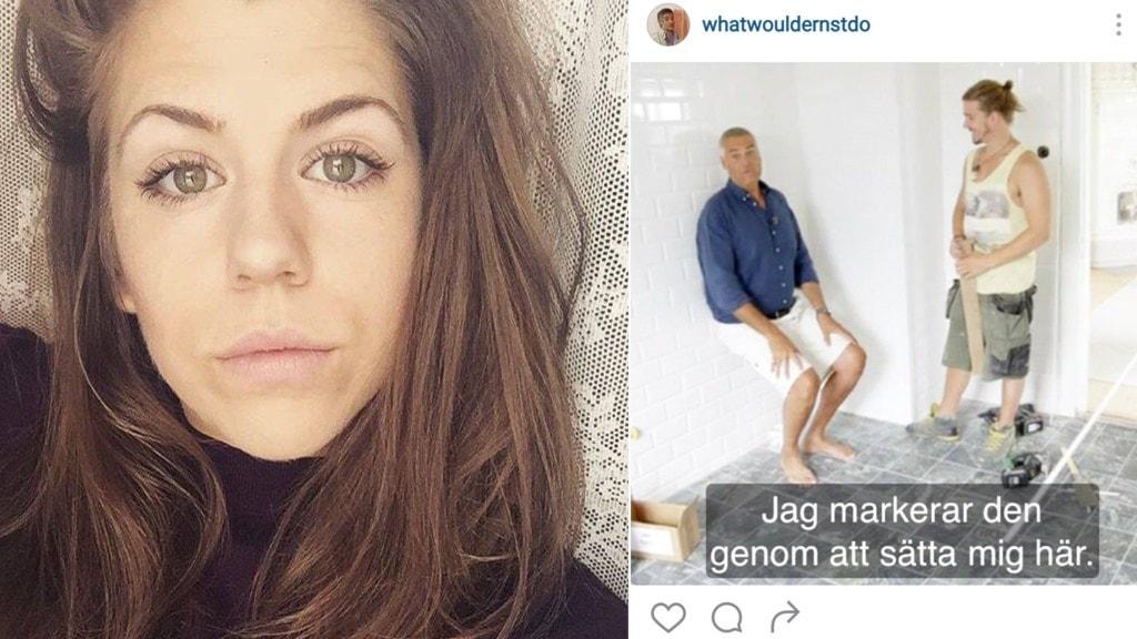 Porträtt av Freja Jernstig och en skärmdump från hennes Instagram.