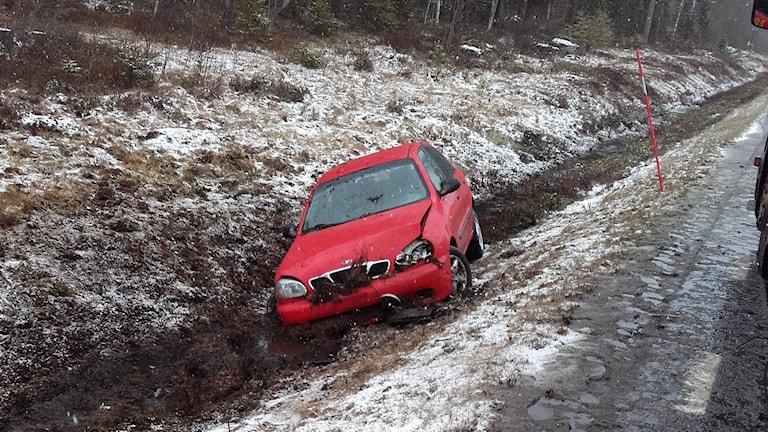 Trafikolyckan i Håkmark. Foto Umeå brandförsvar.