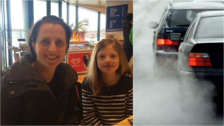 Anna och Alvina Wennström och bilar som spur ut avgaser.
