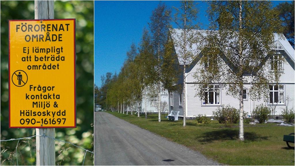Skylt som upplyser om förorening samt Långgrundsgatan på Norrbyskär.