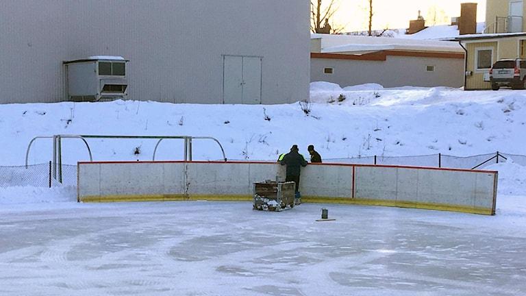 Sargen under uppbyggnad. Foto:  Pelle Lindqvist.