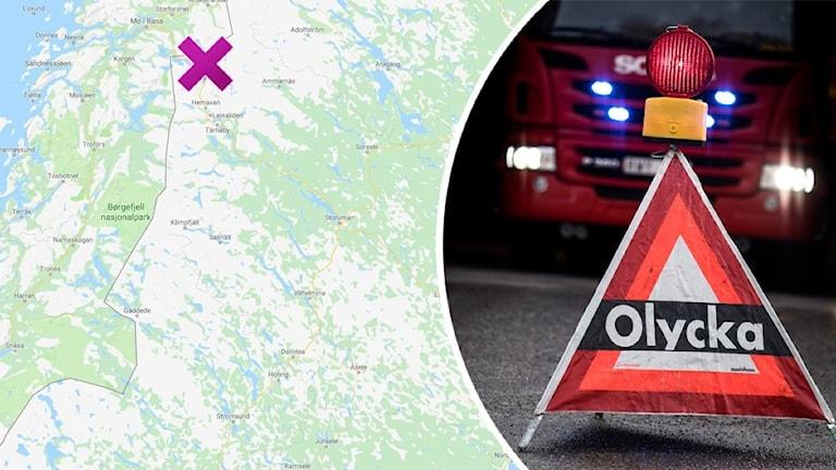 Olycka vid Umasjö foto Google maps och Pontus Lundahl TT