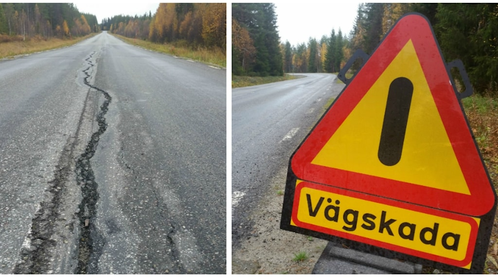 Bildcollage, väg med sprickor i och vägskada-skylt