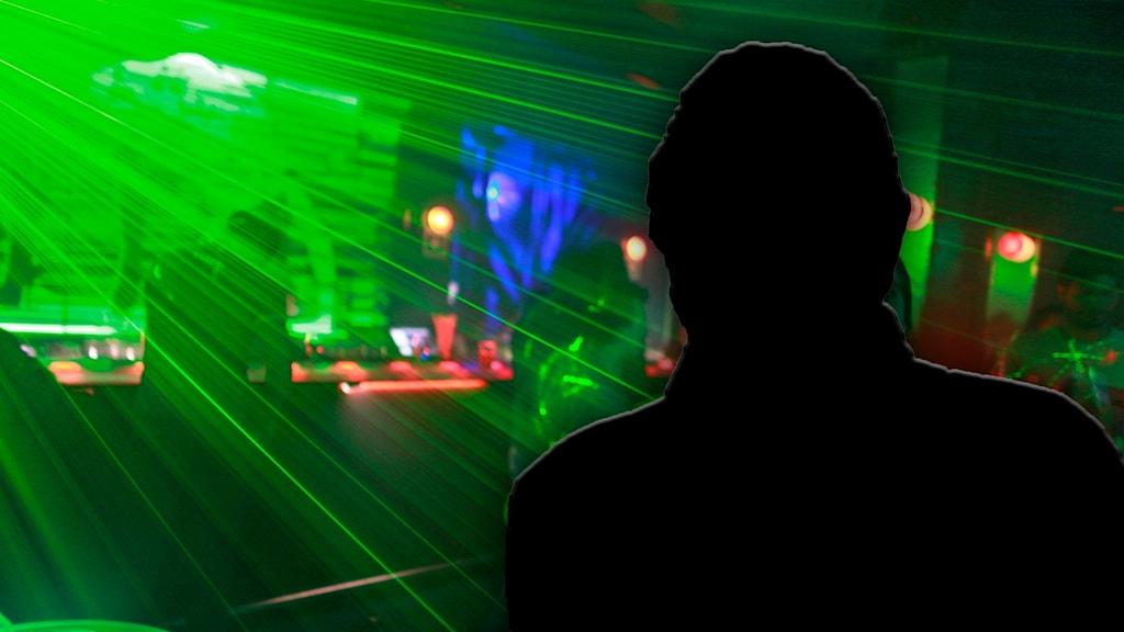En nattklubb och siluetten av en man