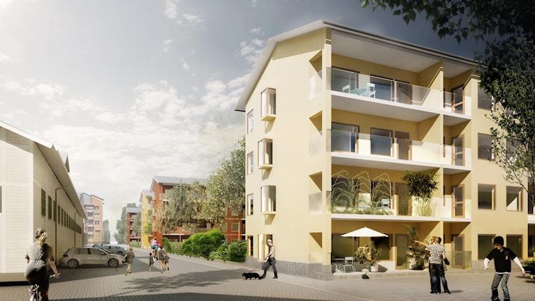 Bostadshus vid stallarna på K4-området vid Dragonfältet i Umeå. Bild: White arkitekter.