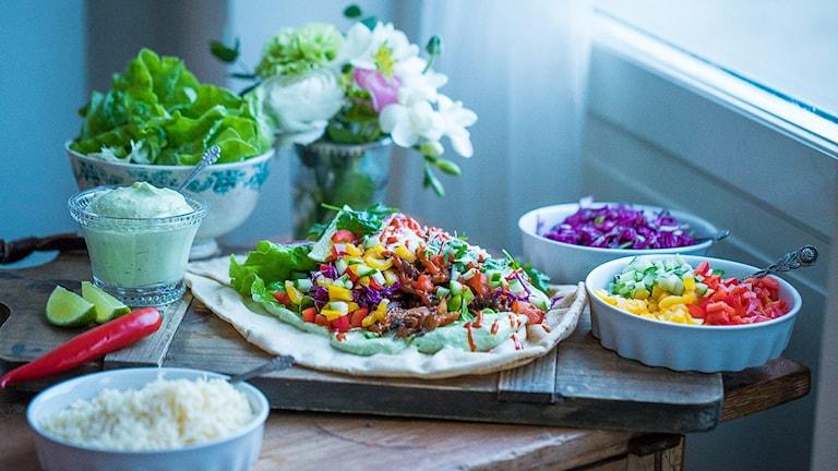 Lyxig tacobuffé med fooled pork efter Susanne Jonssons recept