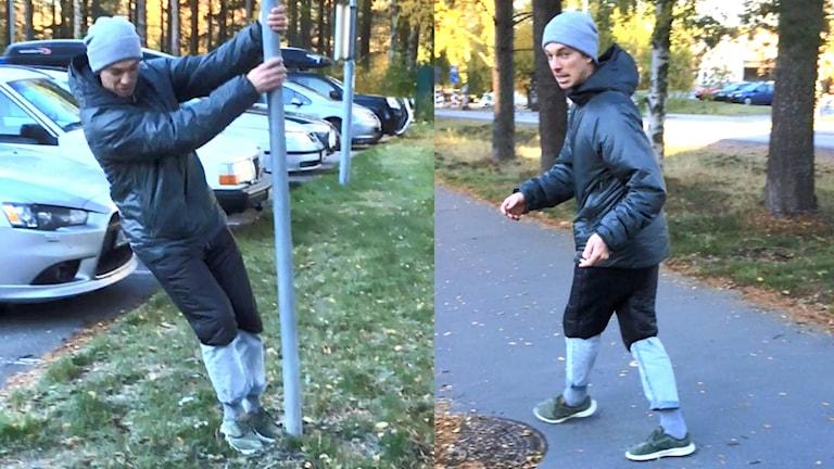 Rörelseambassadör Wictor Lundström tipsar om en mer allsidig promenadstil. Foto: Peter Öberg, Sveriges Radio.