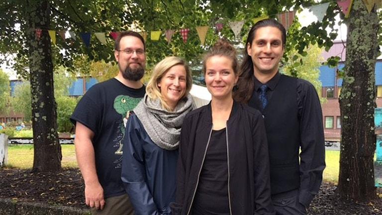 Från vänster: Linus Råde, Studiefrämjandet, Emma Burström, Skuggteatern, Jenny Forslund, Ålidhem Äger och Love Ersare, Skuggteatern.