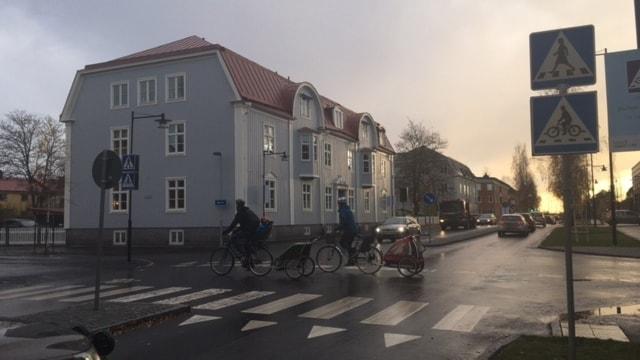 Umeås första cykelöverfart, här har bilar väjningsplikt mot cyklister.