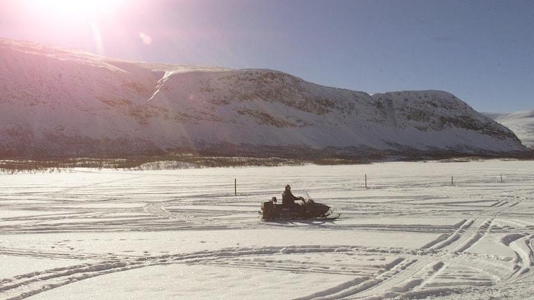 Fjällmiljö och en snöskoter