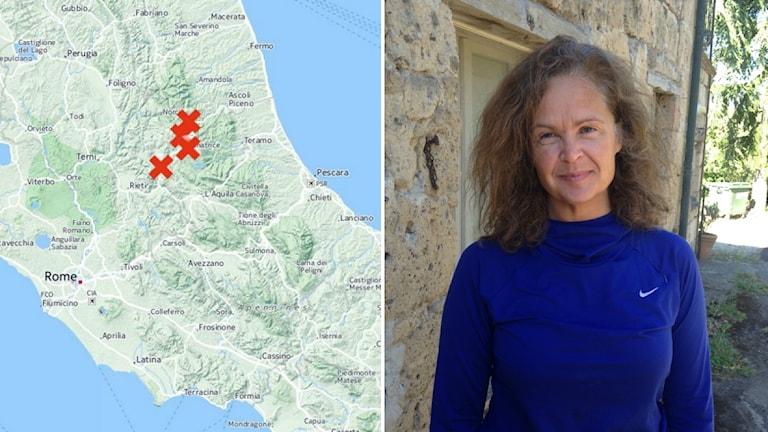 Lenita Brodin Berggren utanför sitt stenhus i Italien.l