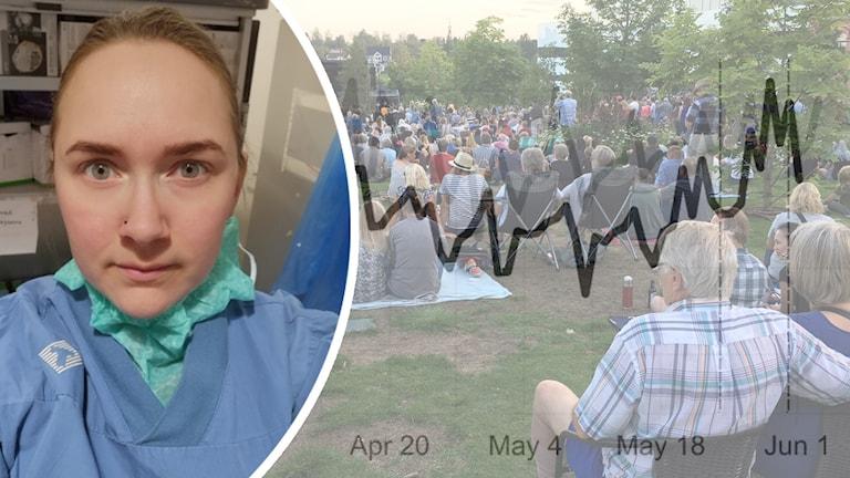 Ida Björn, undersköterska i kollage med en bild på folk i en park med en graf över. Foto: Privat och Lari Honkanen/Sveriges Radio