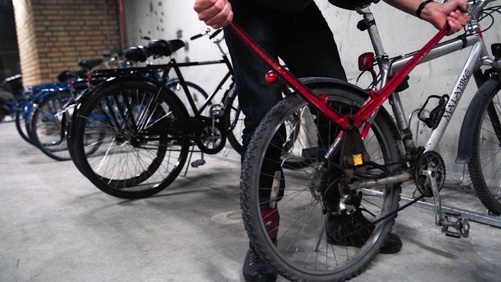 Genrebild. En man lyfter en cykel.