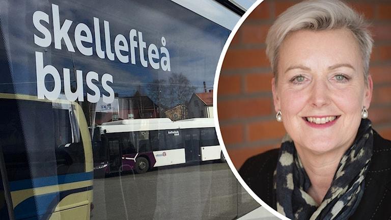 Marie Larsson, vd Skellefteå buss. Foto: Hjalmar Åman/Sveriges Radio och Pressbild