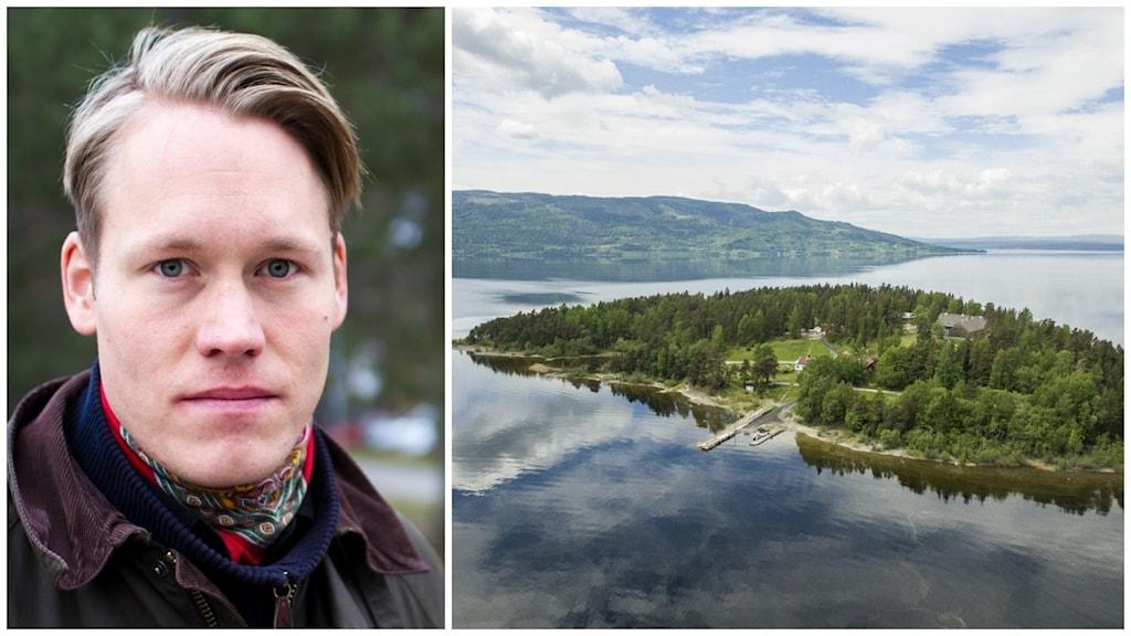 Till vänster, Björn Wiechel. Till höger, Utöya.