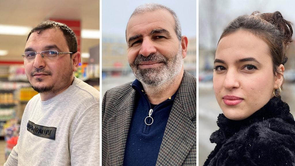 Tre porträtt tre personer. Två män i 50-årsåldern, kvinna i 25-års åldern.