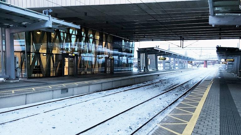Tom perrong på Östra station i Umeå