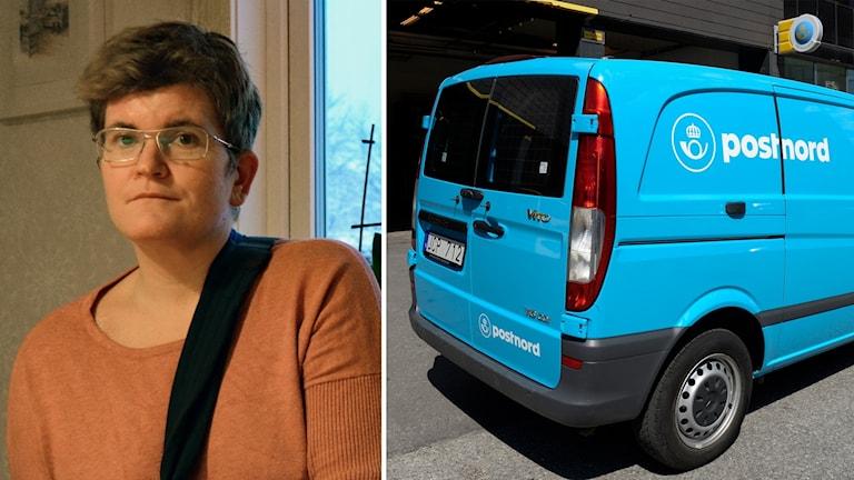 Porträttbild på Åsa Åsberg och en arkivbild på en postbil