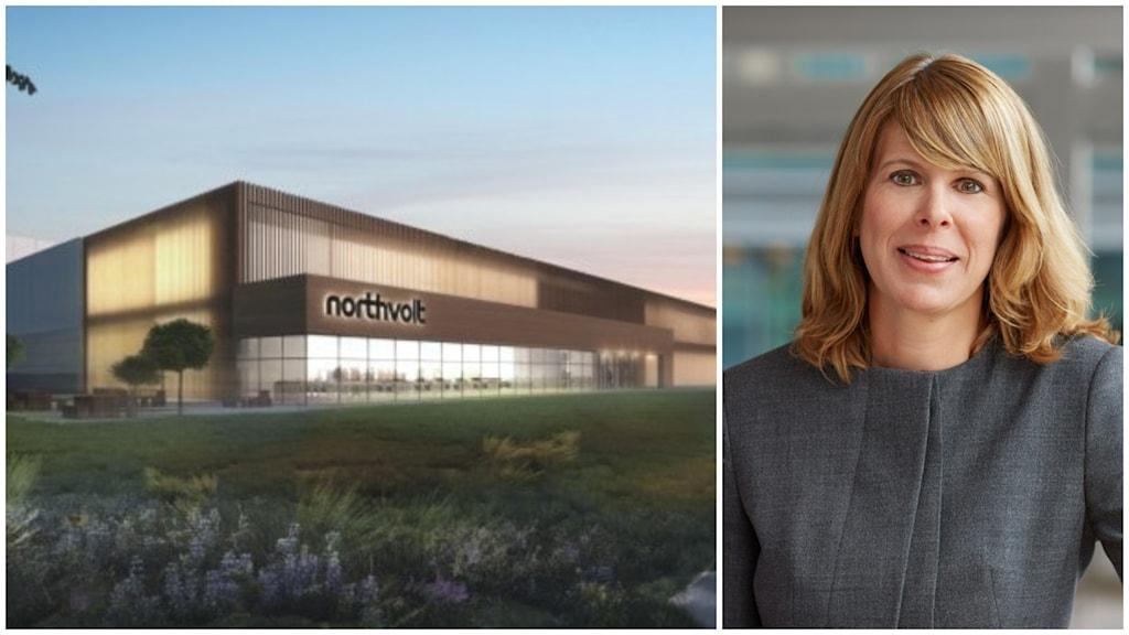 Skiss över brun fabriksbyggnad med stora glaspartier och företaget Northvolts namn på fassaden.