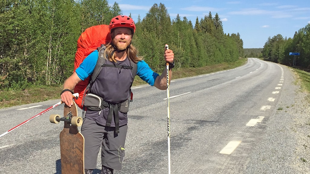Erik Sander på väg norrut längs E45:an