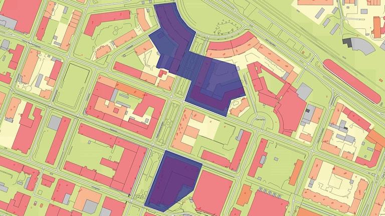 Karta över vattenavstängning i Umeå. Bild: Vakin.