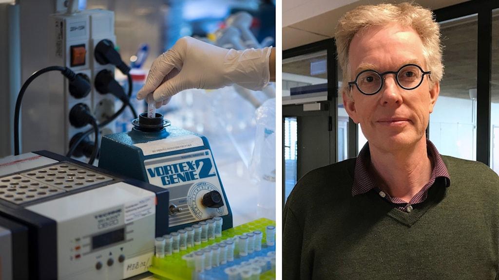 Ett laboratorium med provrör mm och Anders Johansson, hygienöverläkare vid Norrlands universitetssjukhus.