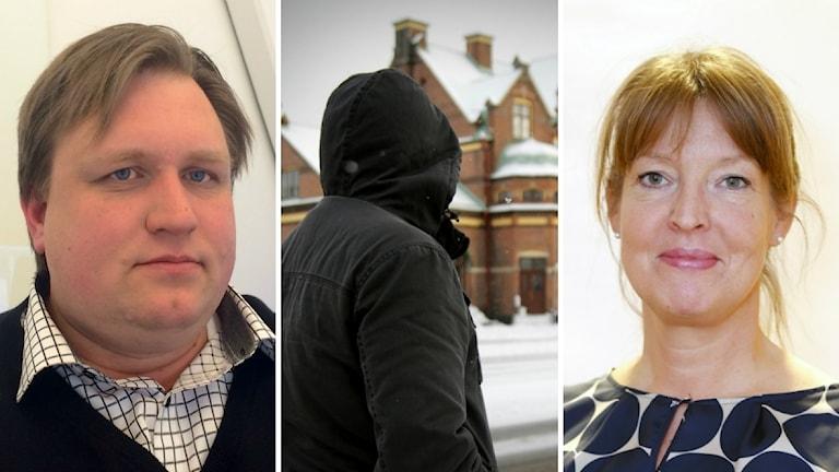 Från höger: Andreas Lundgren socialdemokrat, hemlösa Peter och Anna-Karin Sjölander centerpartiet.