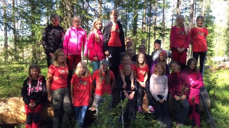 Ett tjugotal ungdomar deltog i skogskollot i burträsk