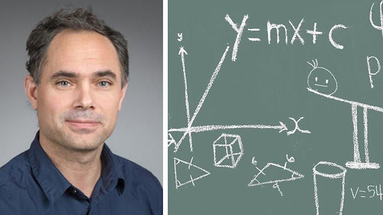 Henrik Sjödin, matematiker vid Umeå universitet och formler på en tavla. Foto: