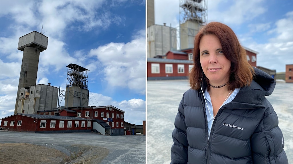 Gruvarbetaren Veronica Johansson utanför gruvområdet i Kristineberg.