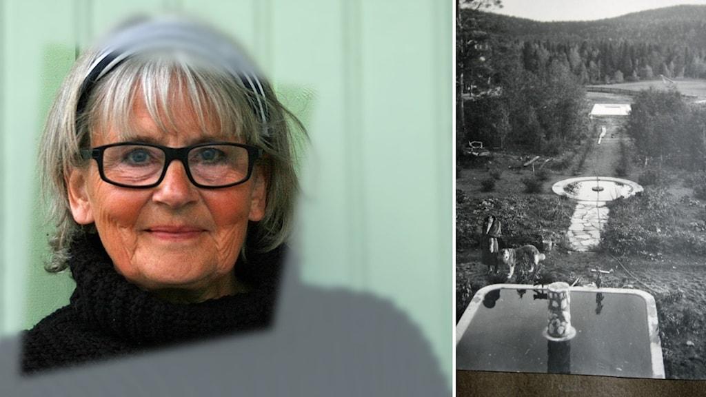 Agneta Gustavsson i svart polotröja och glasögon. Svartvit bild på de tre dammarna i Dorotea.