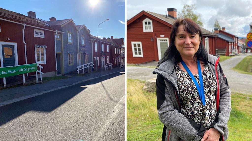 Laila Eliasson är före detta museiintendent i Vilhelmina, här står hon vid kyrkstan.