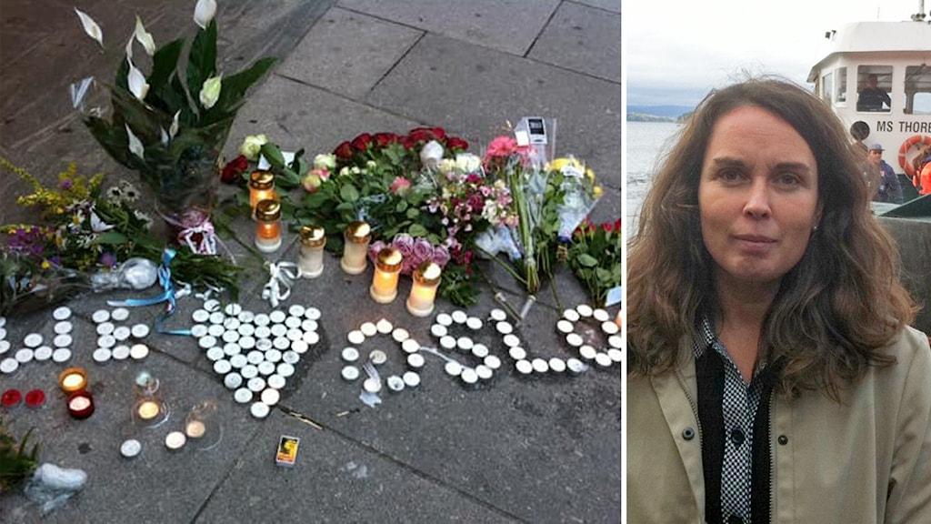 Vänster minnesmonumentet till offren.