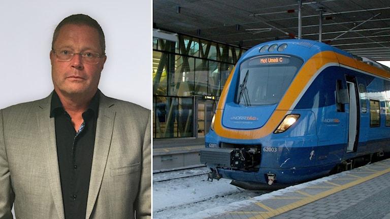 Mats Gustafsson, vd Tågkompaniet, och ett tåg i ett kollage