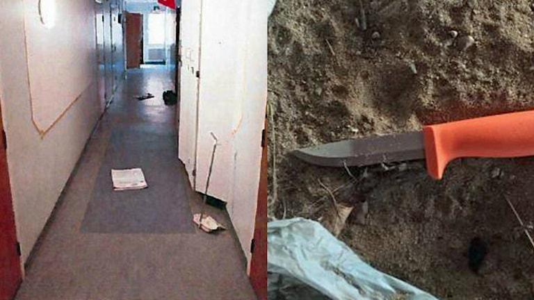 Kniven som tros ha använts vid mordet i studentrummet. Foto: Polisen.