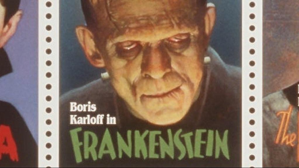 Frimärke med Frankenstein spelad av Boris Karloff