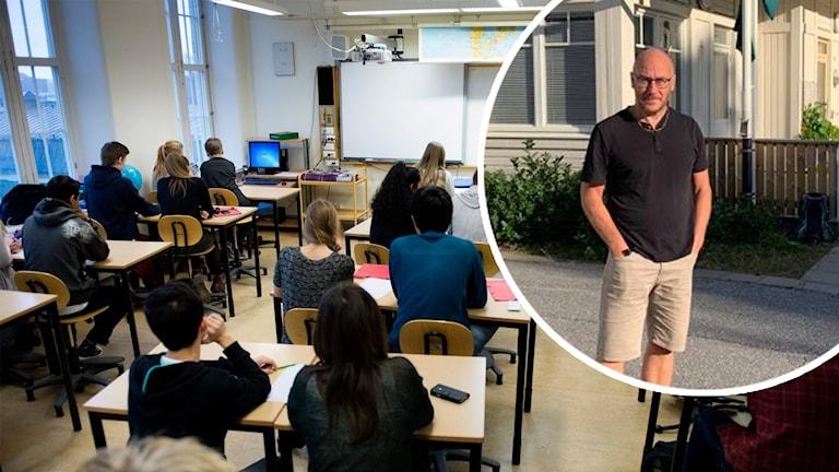 Ett klassrum med elever och en porträttbild på Per Edberg lärarförbundets huvudskyddsombud för Umeås för- och grundskolor. Foto: Jessica Gow/TT och Filippa Armstrong/Sveriges Radio