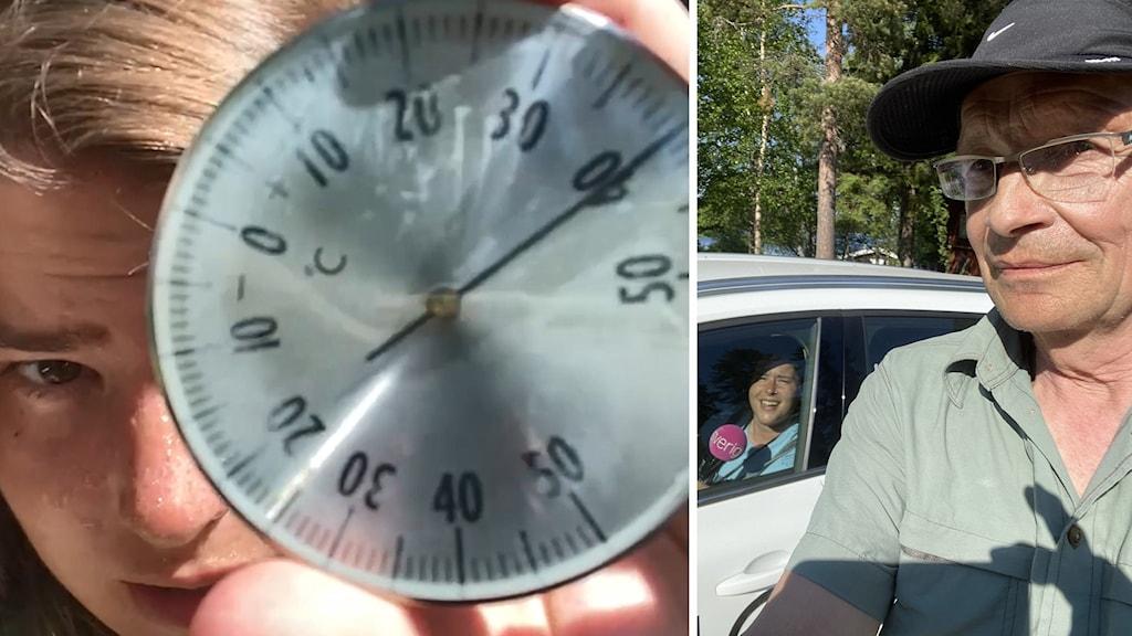 Äldre man med grön skjorta framför en vit bil med en kvinna vid ratten.