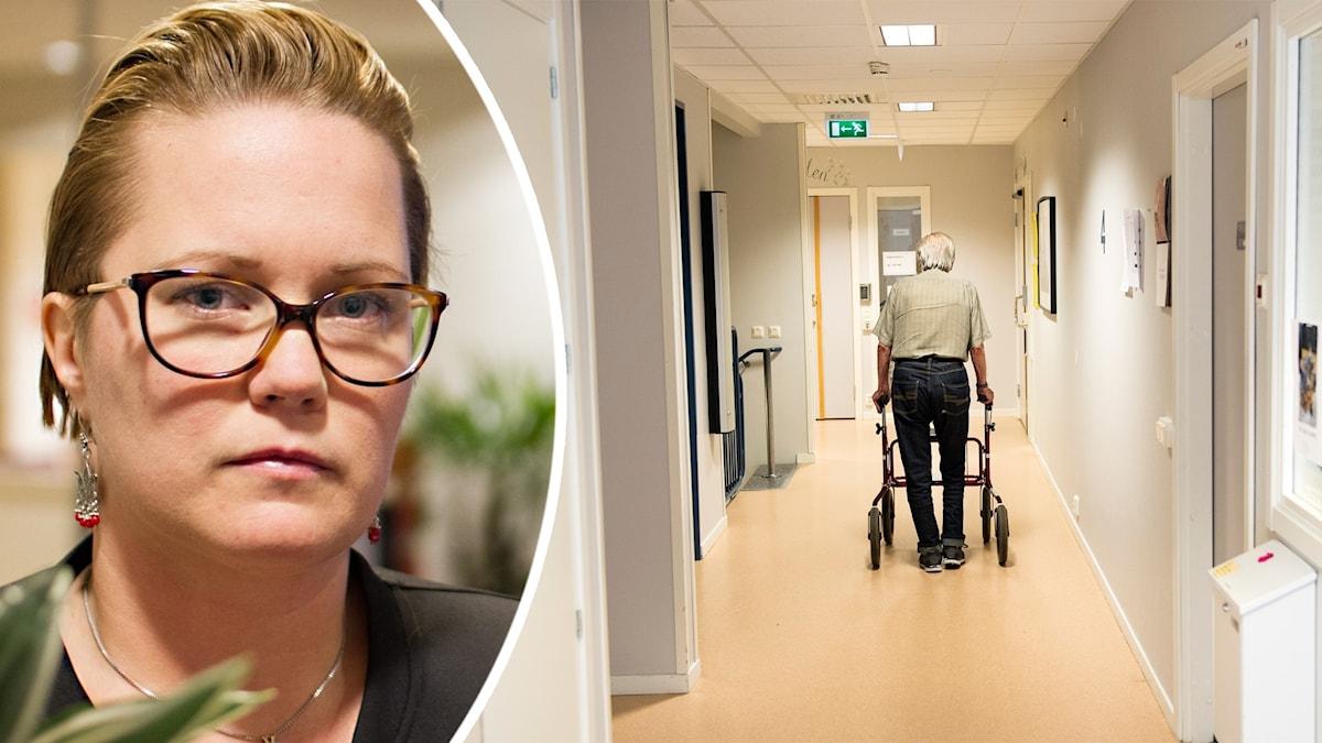 Malin Sundbom, verksamhetschef för vård- och omsorgsboenden i Umeå kommun. Foto: Markus Åkebo/Sveriges Radio och Pontus Lundahl/TT