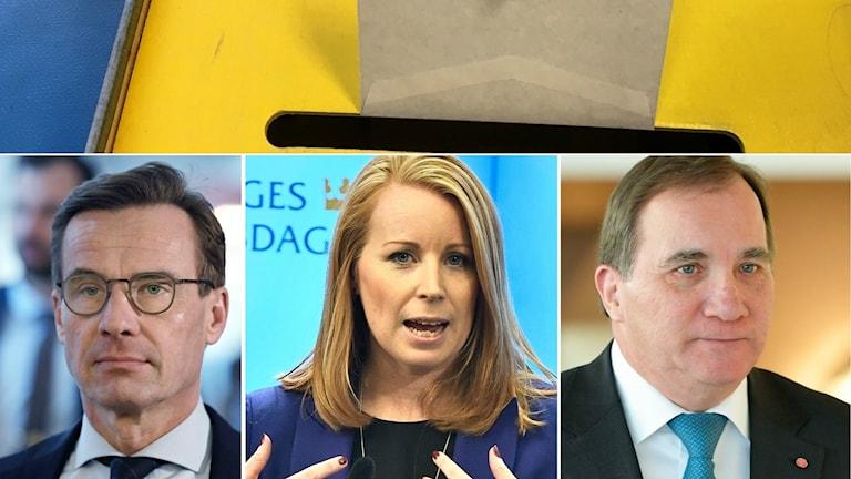 Bildkollage på Ulf Kristersson, Annie Lööf och Stefan Löfven. I överkant sätts ett valkuvert i urnan för riksdagsvalet.