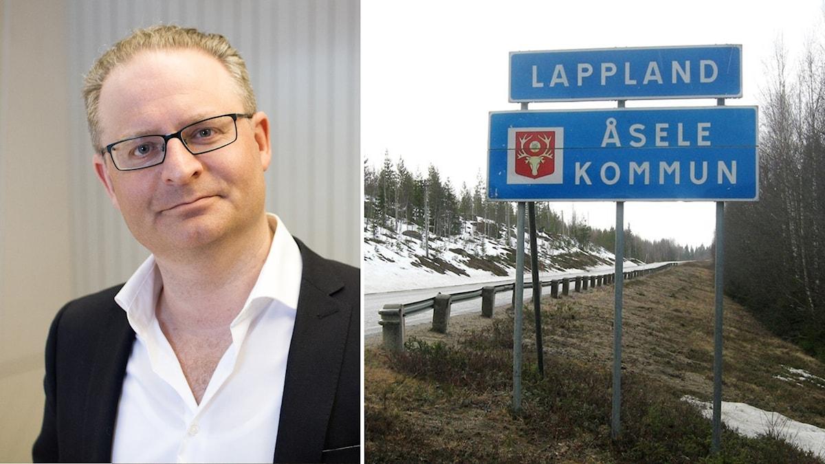 David Feltenius och en vägskylt där Åsele kommun börjar