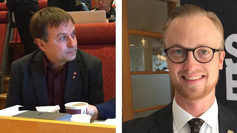 Lorents Burman (S) och Andreas Löwenhöök (M) kommunalråd och oppositionsråd i Skellefteå.
