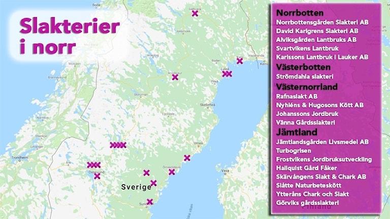 En karta över slakterier i norr