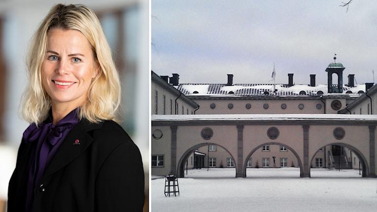 Porträttbild på Anna Olskog och en bild på Minervaskolan